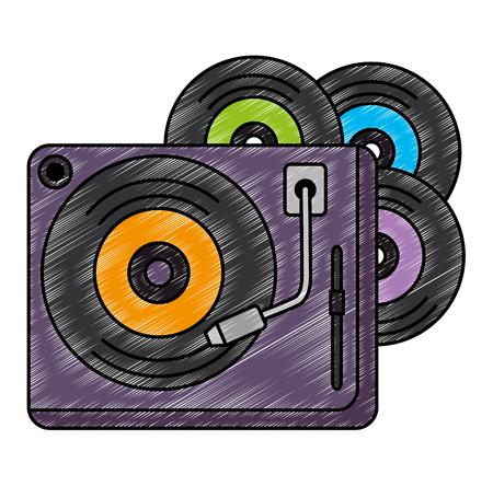 Vinylscheiben mit Plattenspieler-Vektorillustrationsdesign Vektorgrafik