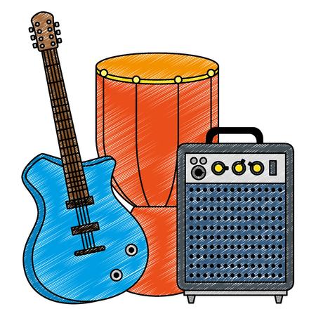 bongo drum with guitar and speaker vector illustration design