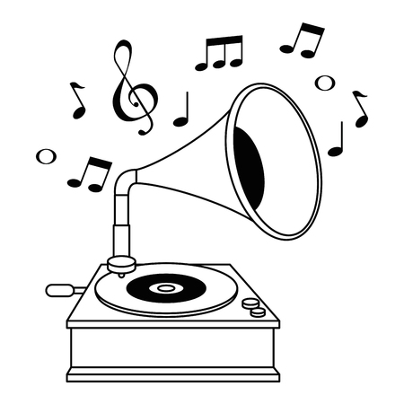 gramophone old fashion with music notes vector illustration design
