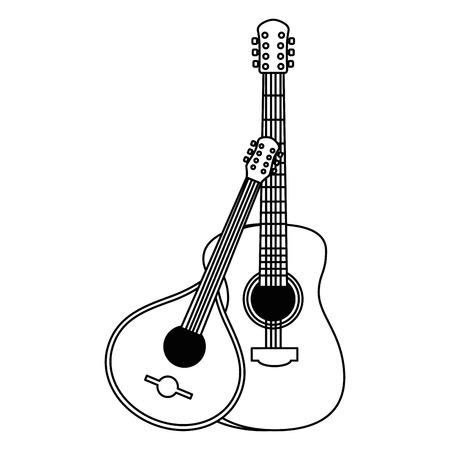 disegno di illustrazione vettoriale di strumenti musicali chitarra acustica e fado