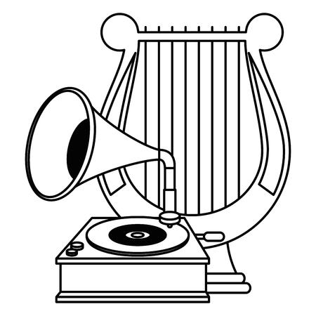 gramophone old fashion with harp vector illustration design Illustration