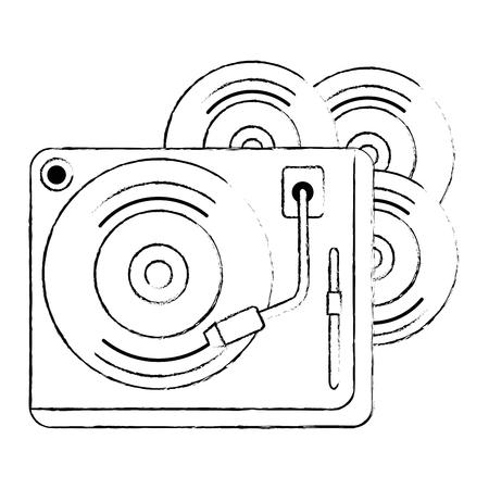 Vinylscheiben mit Plattenspieler-Vektorillustrationsdesign