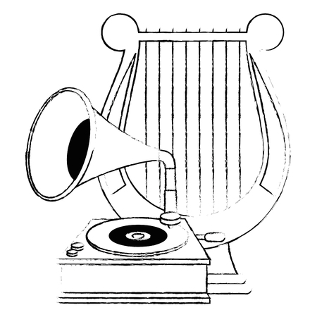 gramophone old fashion with harp vector illustration design Illusztráció
