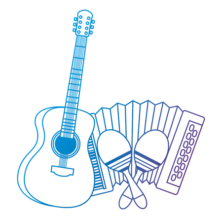accordion with guitar and maracas tropical instruments vector illustration
