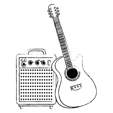 acoustic guitar with speaker vector illustration design