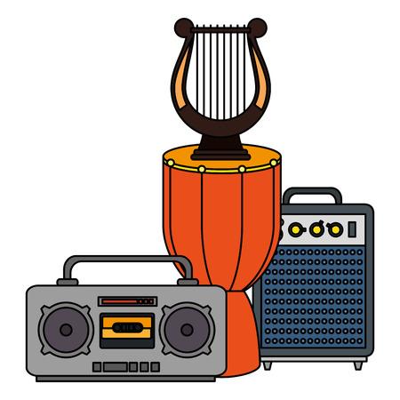 bongo drum with harp and radio vector illustration design