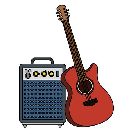 acoustic guitar with speaker vector illustration design