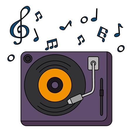 Platine vinyle avec des notes de musique vector illustration design