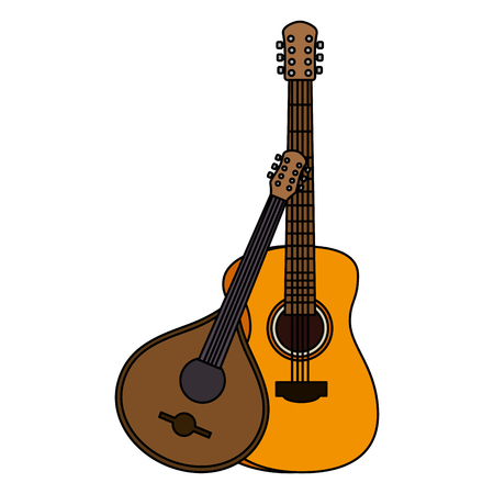 acoustic and fado guitar musical instruments vector illustration design Stockfoto - 111928737