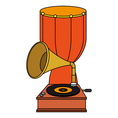 Bongo-Trommel mit Grammophon-Vektor-Illustrationsdesign