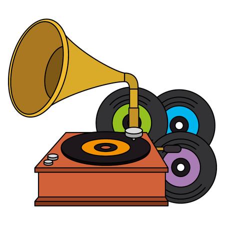 vinyl disks with gramophone vector illustration design