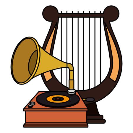 gramophone old fashion with harp vector illustration design Stock Illustratie
