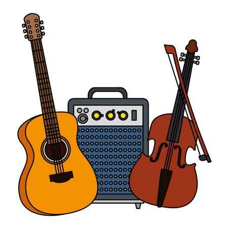 acoustic guitar with speaker and fiddle vector illustration design Ilustrace
