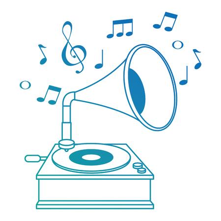 Grammophon alte Mode mit Musiknoten Vektor-Illustration Design