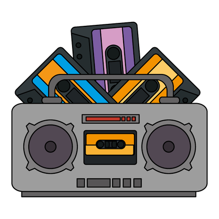 radio music player with cassettes vector illustration design 向量圖像