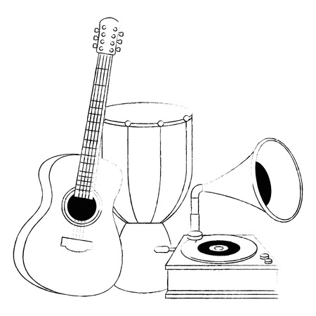 bongo drum with gramophone and guitar vector illustration design
