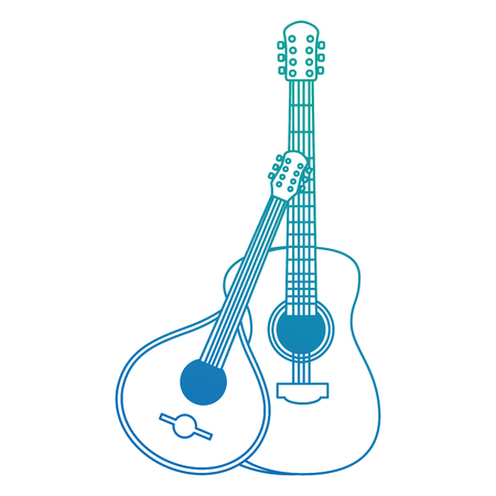 acoustic and fado guitar musical instruments vector illustration design