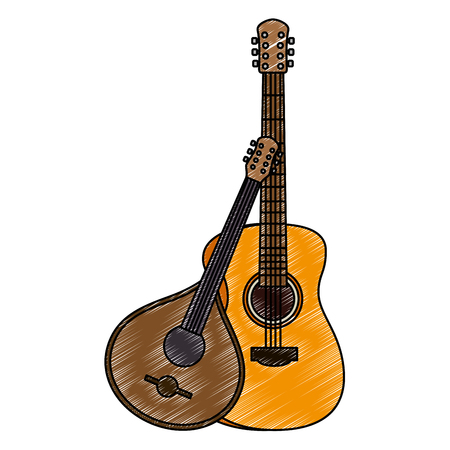acoustic and fado guitar musical instruments vector illustration design Archivio Fotografico - 106565612