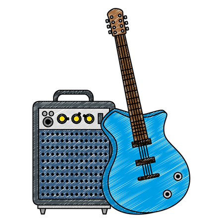 electric guitar with speaker vector illustration design