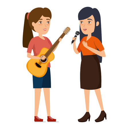 women singing with microphone and playing guitar vector illustration Фото со стока - 111928768
