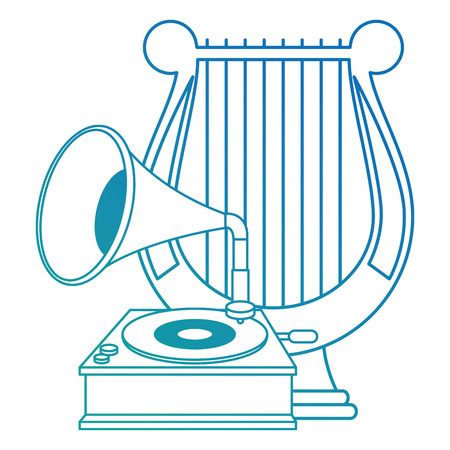 gramophone old fashion with harp vector illustration design Ilustrace