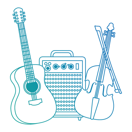 acoustic guitar with speaker and fiddle vector illustration design