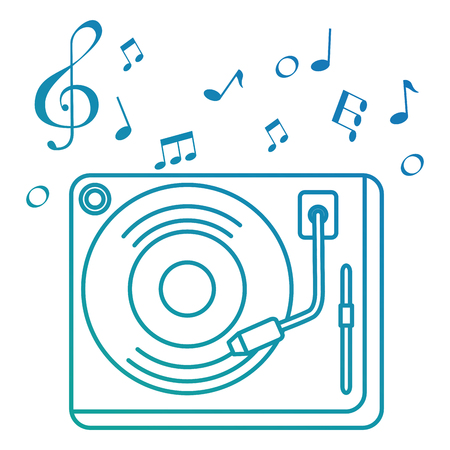vinyl turntable with music notes vector illustration design