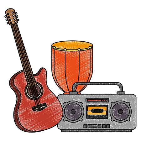 bongo drum with guitar and radio vector illustration design