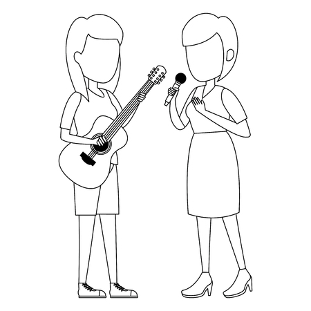women singing with microphone and playing guitar vector illustration Фото со стока - 111928800