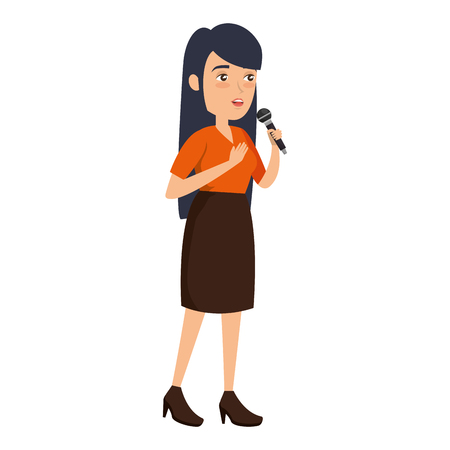 woman singing with microphone vector illustration design Ilustrace