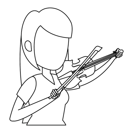 woman playing fiddle character vector illustration design Stock Illustratie