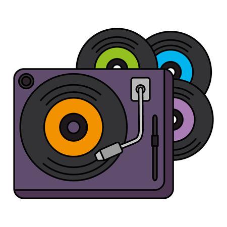 Vinyl-Scheiben mit Plattenspieler-Vektor-Illustration-Design