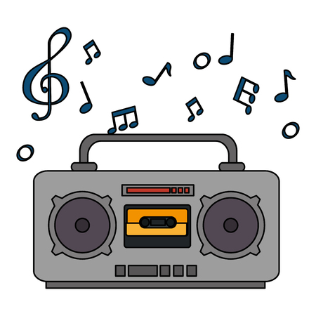 radio music player with notes vector illustration design