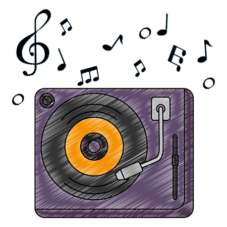 vinyl turntable with music notes vector illustration design Banque d'images - 106567416