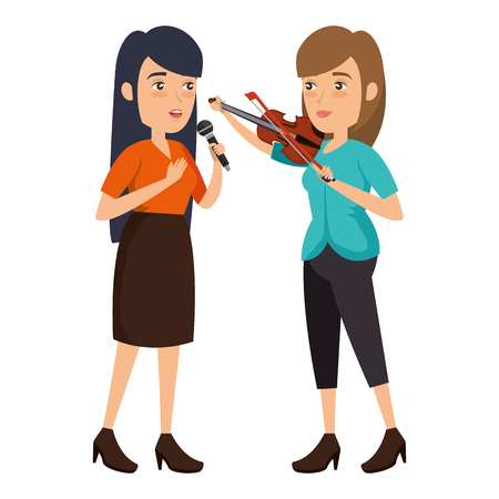 women singing with microphone and playing fiddle vector illustration Фото со стока - 111928839
