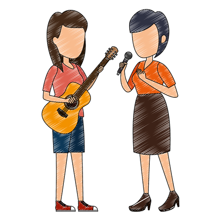 women singing with microphone and playing guitar vector illustration Фото со стока - 111928847