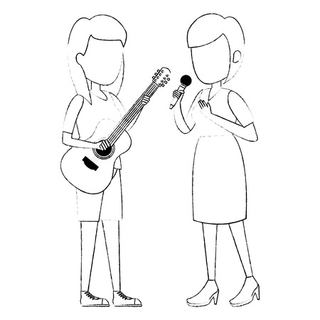 women singing with microphone and playing guitar vector illustration
