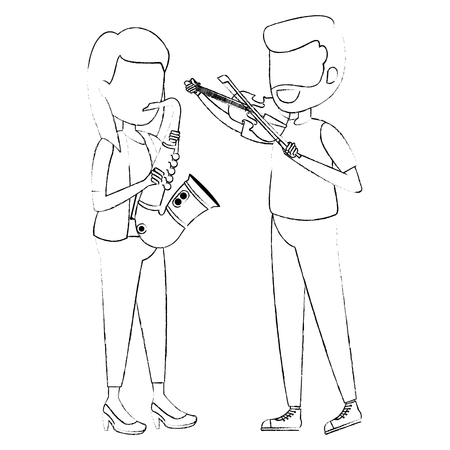 woman playing saxophone and man playing fiddle vector illustration design