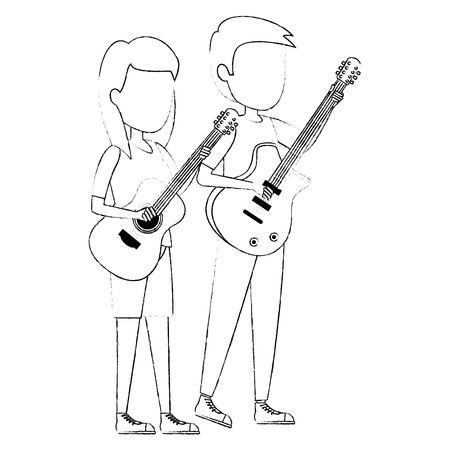 couple playing guitars characters vector illustration design Illustration