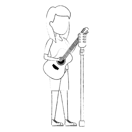 woman singing with microphone and playing guitar vector illustration Illustration