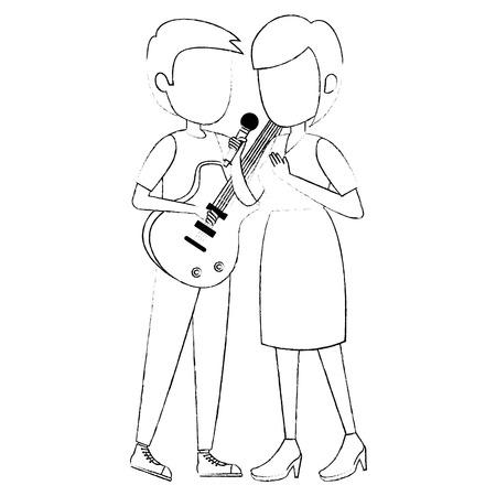 woman singing and man playing guitar vector illustration design Фото со стока - 111928861