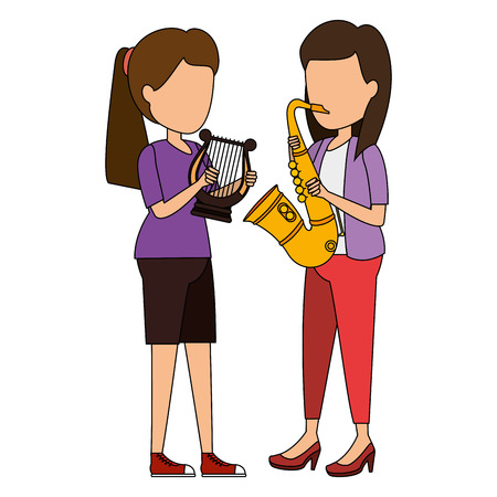 women playing harp and saxophone characters vector illustration design Illustration