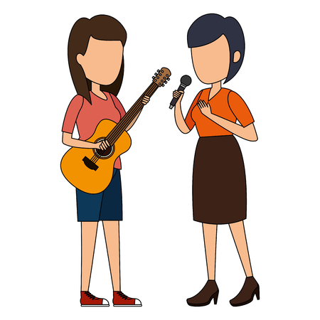 women singing with microphone and playing guitar vector illustration Фото со стока - 111929008