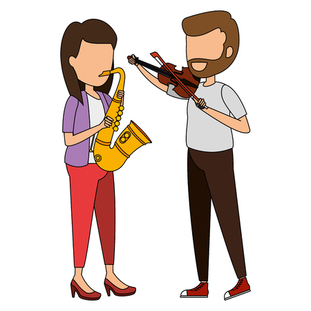 woman playing saxophone and man playing fiddle vector illustration design Reklamní fotografie - 106566487