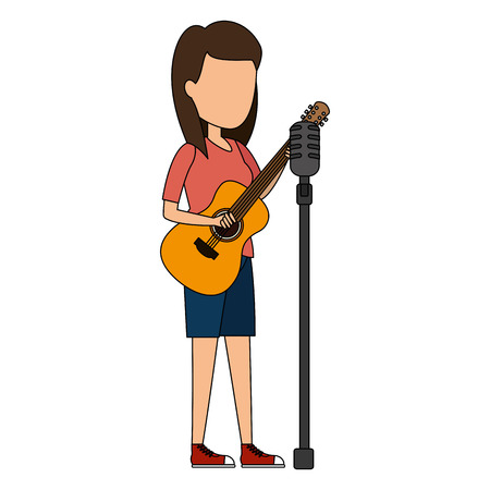 woman singing with microphone and playing guitar vector illustration Stock Illustratie