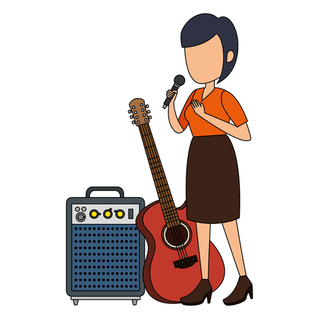 woman singing with microphone and instruments vector illustration design
