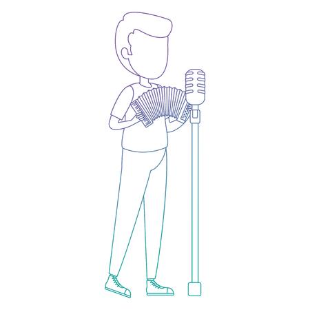 man singing and playing accordion vector illustration design Illustration