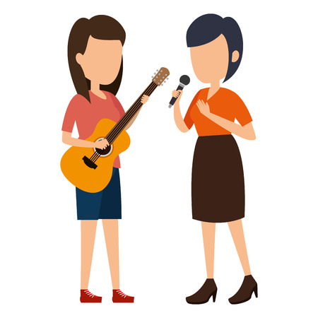 women singing with microphone and playing guitar vector illustration Фото со стока - 111929026