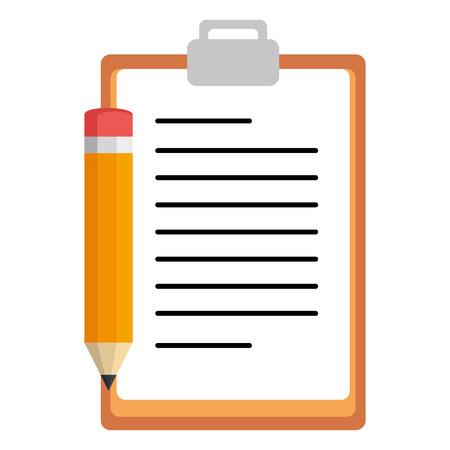 Lista de verificación del portapapeles con lápiz, diseño de ilustraciones vectoriales