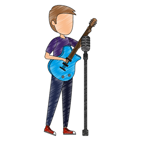 man singing and playing guitar vector illustration design Banque d'images - 106566484